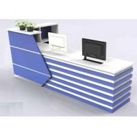 Quality Wood With Lines Design Front Reception Desk / Office Reception Counter Dust Proof wholesale