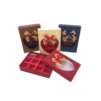 Quality Fancy Small Chocolate Gift Box With Ribbon Bows And Heart Shaped Window wholesale