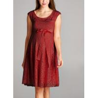 China Trendy Red Color Lace Maternity Going Out Dresses Clothes Anti - Wrinkle on sale