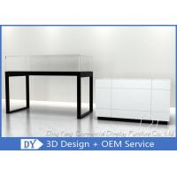 Cheap Glossy White Glass Jewelry Counter Display / Jewelry Showcases for sale