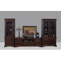 Cheap American Antique Living leisure room furniture sets Wooden TV wall unit set by Floor stand and Tall display cabinet for sale