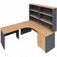 Quality L-shaped desk with hutch, melamine faced chipboard wholesale
