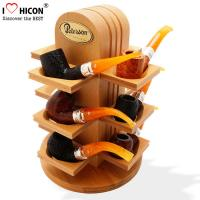 China Retail Shop Wooden Display Shelf Countertop Smoking Pipe Rack For Tobacco Store on sale