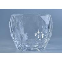 Quality High White Crystal Candle Holders Glass , Diamond Shaped Glass Candlestick Holders wholesale