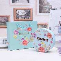 Quality Airtight Decorative Tin Boxes , Small Round Storage Tins With Yellow Inner Tray wholesale
