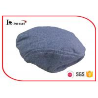 China Boys Waterproof Wool Flat Cap With Stripe Yard Dyed Lining And Elastic Band on sale