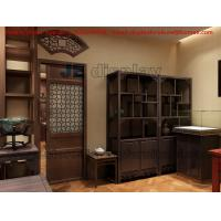 China Wooden Display Cabinet in Chinese Classic Style Design with Counter and table in Tea Retail Store Fixture on sale