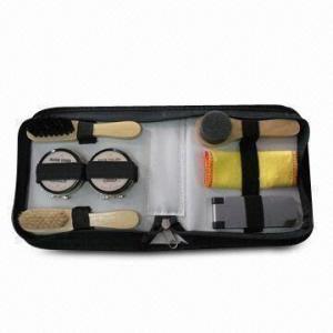 Quality Shoe Shine Set, Includes 2 Shoe Brushes, Shoe Sponge Brush, Shoe Cloth and Cloth Brush wholesale