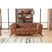 Quality Light Luxury Europe Leather Chesterfield Sofa / Two Seater Leather Couch wholesale