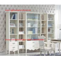 Cheap Reading room Neoclassical Furniture by White Bookcase set with glass door and Computer working desk for sale