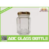Cheap Wholesale clear glass jar hexagon with metal lid for sale