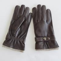 China Customized Fashion Mens Leather Gloves , Classic Mens Fur Lined Leather Gloves on sale