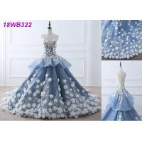 Quality 3D Flowers Crystal Grey Wedding Gown / Luxury See Through Lace Bridal Gowns wholesale