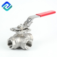 China DN20 T Port 3 Way Ball Valve Operation ISO5211 Lost Wax Casting on sale