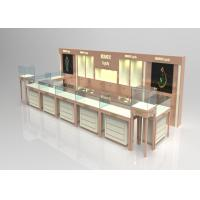 Quality Wooden Glass Beige Color Jewellery Shop Display Cabinets , Jewelry Display Plinths wholesale