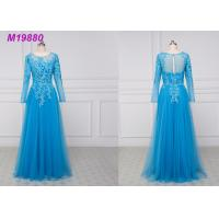 Quality See Through Royal Blue Mother Of The Bride Dresses With Sleeves , Lace Mother Of The Bride Suits wholesale