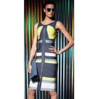 China 2014 new arrival Hayli grey lime green colorblocked bandage dress on sale