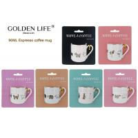 Buy cheap 90cc straight shape espresso cup,new bone china mug with real gold animals from wholesalers