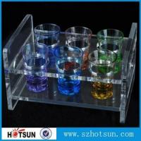 Cheap China factory wholesale black or clear colored acrylic shot glass serving holder tray for sale
