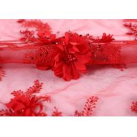 China Bangkok Wedding Bride Red Beaded Lace Fabric 100% Polyester Knitted Technics on sale