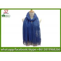 Quality Chinese factory blue embroider tassel lace thin scarf 20%Cotton 80%Polyester 70*180cm spring summer autumn keep fashion wholesale