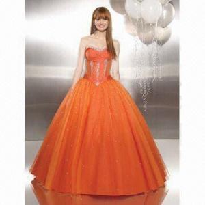 Quality Orange Evening Dress with Keyhole Front, Asymmetrical Beading Design Accents Draped Bodice wholesale