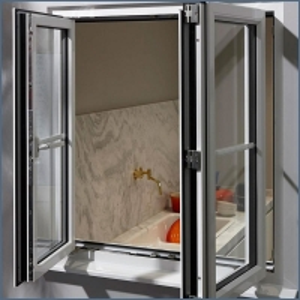 China Double Glazed Aluminum Frame Tempered Glass Swing Window on sale