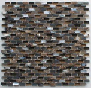 Quality Coffee Stone Glass Kitchen Mosaic Tiles , Interlocking Fireplace Mosaic Tile wholesale