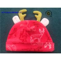 Quality Red Baby Bibs And Hats 100% Microfleece Newborn Baby Hats With Stuffed Ears wholesale
