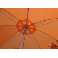 Quality 36 Inch Orange Beach Umbrella Round Shaped With Aluminum Umbrella Handle wholesale