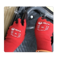 China CE Level 3 Women Red Nylon Knit Work Gloves Knit on sale