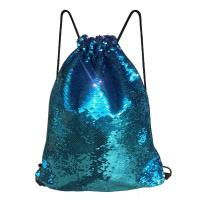 China Reversible Mermaid Sequin Drawstring Bag , Draw Strap Backpack Reversible For Girls on sale