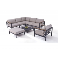 Quality Modern Seaside Outdoor Aluminum Sofa Set With Wooden Armtop wholesale