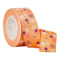 China Floral Printed Orange Grosgrain Ribbon for Gifts Boxes Packaging on sale