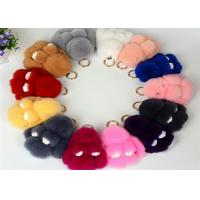 Quality 13-20cm Fluffy Bunny Keychain With 100% PP Cotton Filling / Real Rabbit Fur wholesale