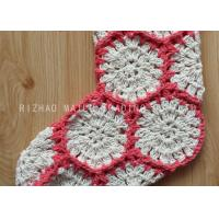 Quality Hexagon Knitted Christmas Tree Ornaments White And Red Crochet Christmas Stockings wholesale