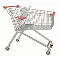 Quality Powder Coating Supermarket Shopping Trolley Cart , 4 Wheel Metal Shopping Carts wholesale