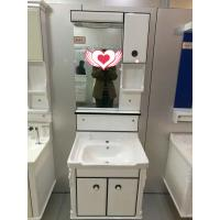 Cheap House / Hotel Mirror 60cm PVC Bathroom Cabinet With Single Bowl for sale