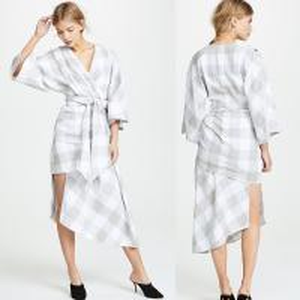 China Fall Clothing Plus Size Gingham Kimono Style Wrap Dress For Women on sale