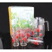 Quality Rose Flower Printed Glass Drink Set wholesale