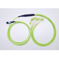 Quality Lime Green OM5 MPO Fanout Cable 16 Fibers UPC Polish Type For MPO Cabling wholesale