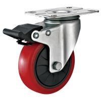 Cheap 4 Inches Polyurethane PU Caster Wheel With Total Locking Brakes Color Optional for sale