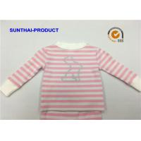 Cheap Pink Stripe AOP Baby Girl Sleepwear Sets Size Customized For Autumn / Winter for sale