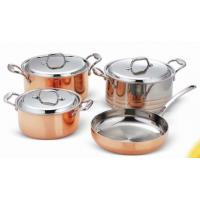 Quality Saucepot and frypan cookware set 7Pcs for Tri-ply Copper SHXYY-01-4,Thickness 2.2-3.0mm, wholesale