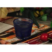 Quality Birthday handmade blue glass candle holder , 70ml glass candle jars wholesale