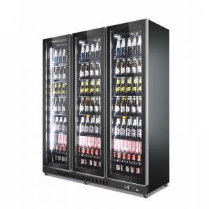 China Drinks Fridge Glass Bottle Fridge Bar Beverage 5 Shelfs Refrigerator black Color on sale