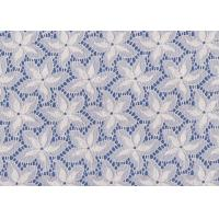Quality Blue / White Floral French Lace Fabric By The Yard For Swimwear / Toy wholesale