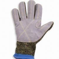 Quality Cut-resistant Leather Faced Kevlar/Stainless Steel/Cotton Glove, CE Certified wholesale