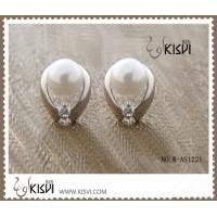 Quality Elegant & unique fashion design cute silver gemstone earring with imitation pearl W-AS1221 wholesale