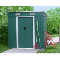 Quality Prefab 6x4 Green Pent Metal Tool Shed With Double Swing Door / Galvanized Steel Frame wholesale